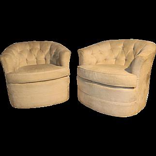 Milo Baughman Style Mid Century Swivel Club Lounge Chairs Pair