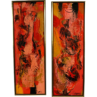 """Mid Century Abstract Expressionist Oil paintings signed """"Griffin"""" pair"""
