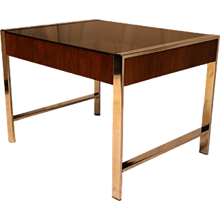 Mid Century Chrome Smoked Glass Side Table Milo Baughman Style