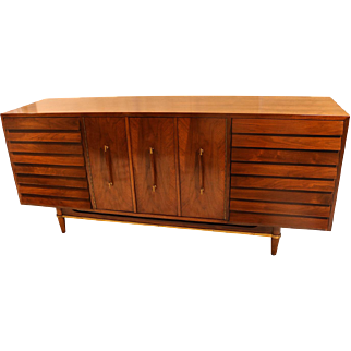 Mid Century Modern American of Martinsville Dania Collection Louvered Walnut Credenza
