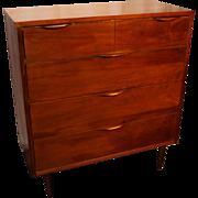 Mid Century Modern Tall Dresser with Sculpted Handles