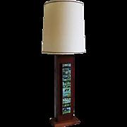Mid Century Modern Wooden Rectangular Table Lamp