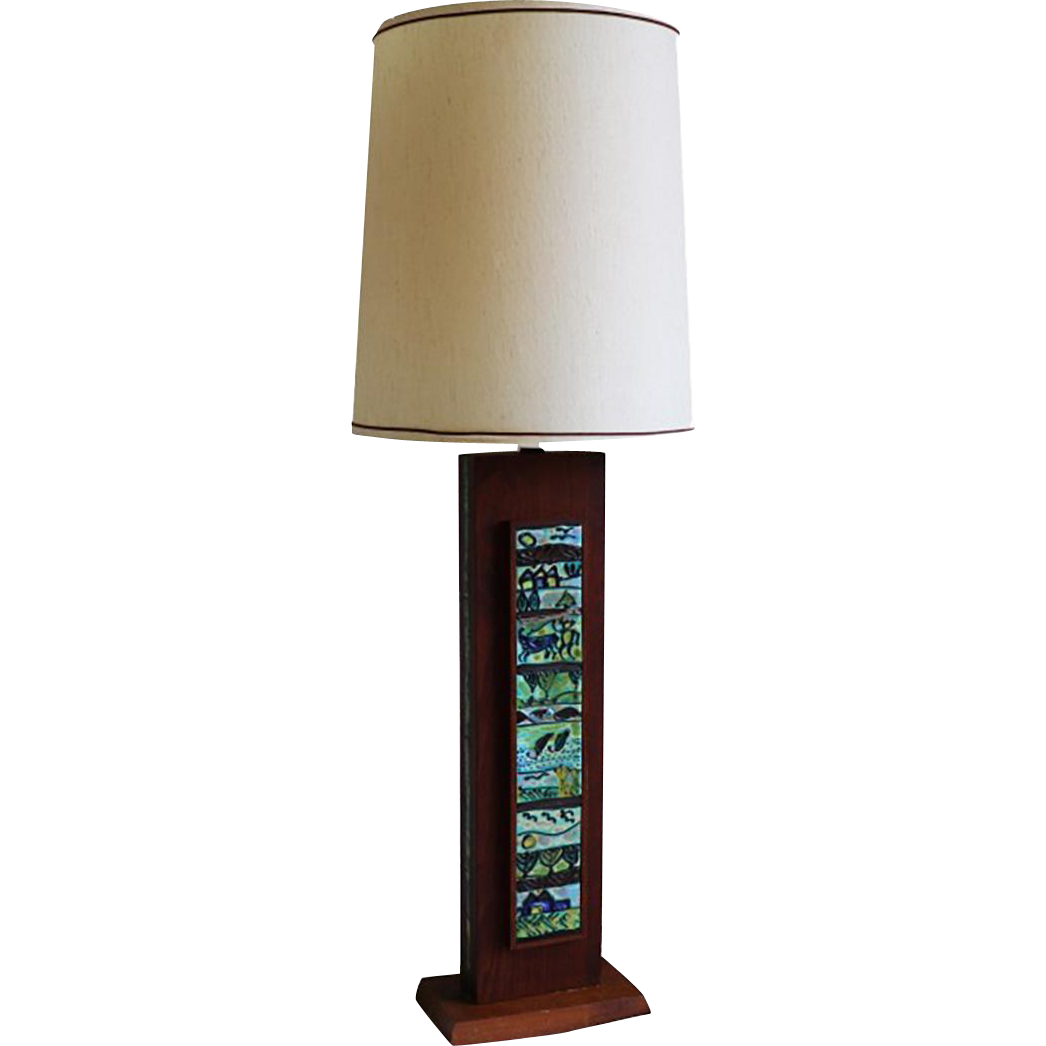 mid century modern wooden rectangular table lamp from