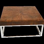 Mid-Century Modern Walnut Chrome Square Coffee Table