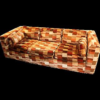 Mid century sofa Milo Baughman style Jack Lenor Larsen Upholstery