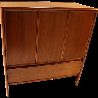 Mid Century Walnut Drexel High Boy Vanity Dresser