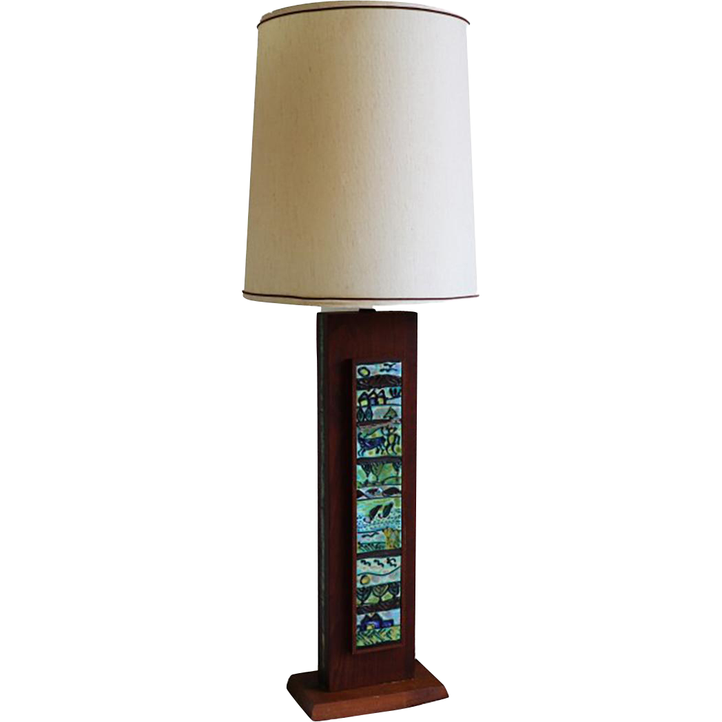 mid century wooden rectangular table lamp from marykaysfurniture on ruby lane. Black Bedroom Furniture Sets. Home Design Ideas