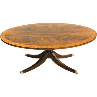 Mahogany Pedestal Oval Coffee Table