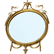 Superb Neo-Classical Style carved French Giltwood Round Mirror
