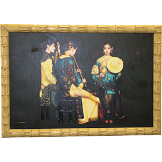 Oil Painting on Canvas Chinese Musician Group Portrait