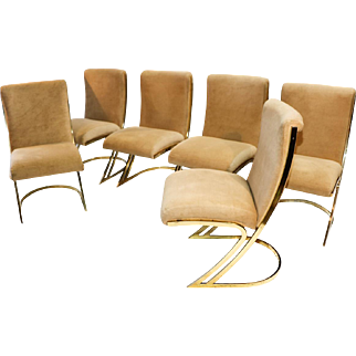 Pierre Cardin mid century Brass Side Dining Chairs Cantilever Z Back