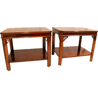 Pair Lane Mahogany Chippendale Style Side end Tables