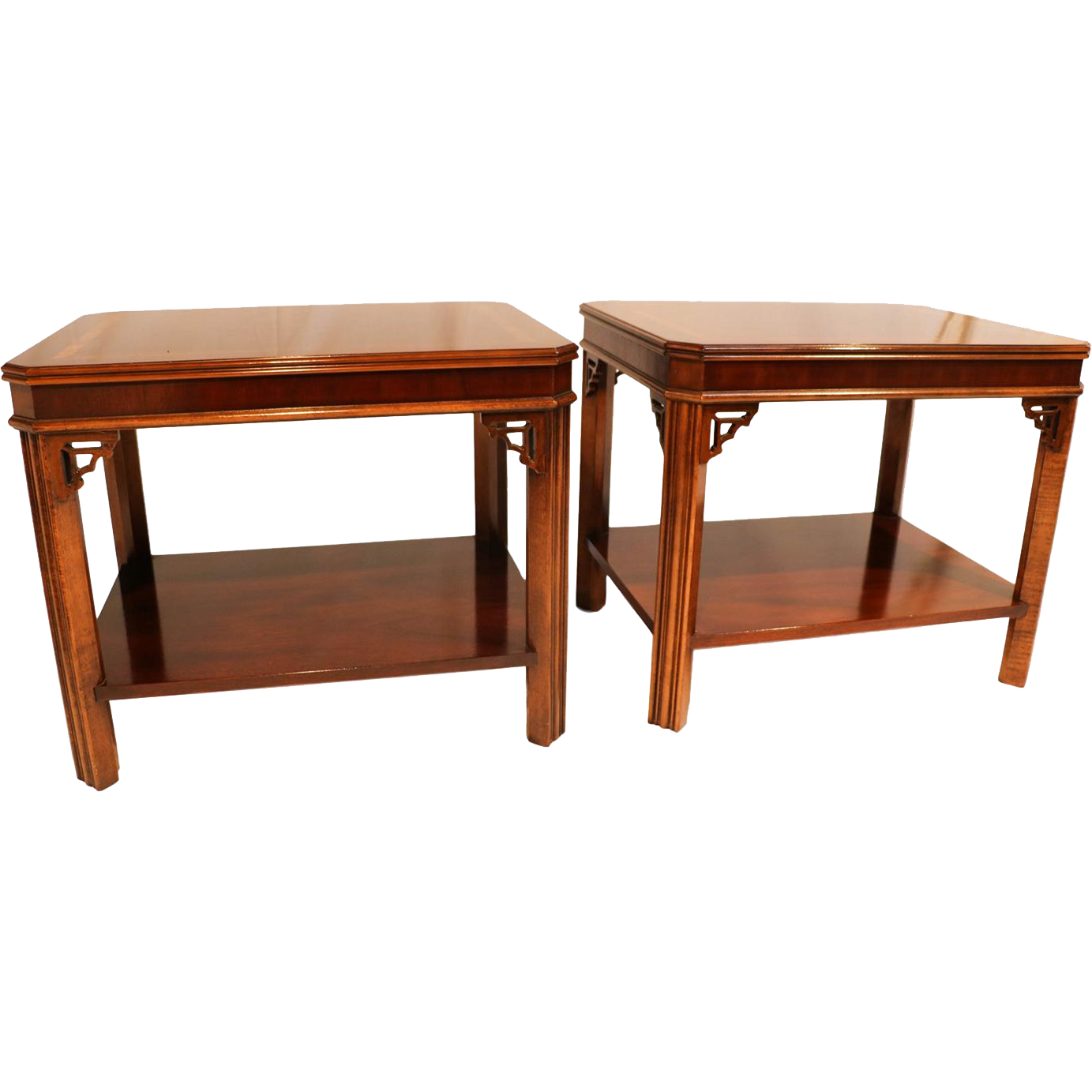 Pair Lane Mahogany Chippendale Style Side end Tables from