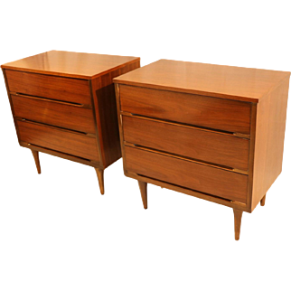 Pair Mid Century Dressers Chests Nightstand Tables