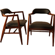 Pair Mid Century Modern Leather Side Chairs