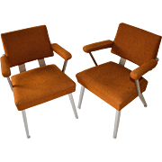 Pair Mid Century Modern General Fireproofing Good Form Aluminum Arm Chairs Retro