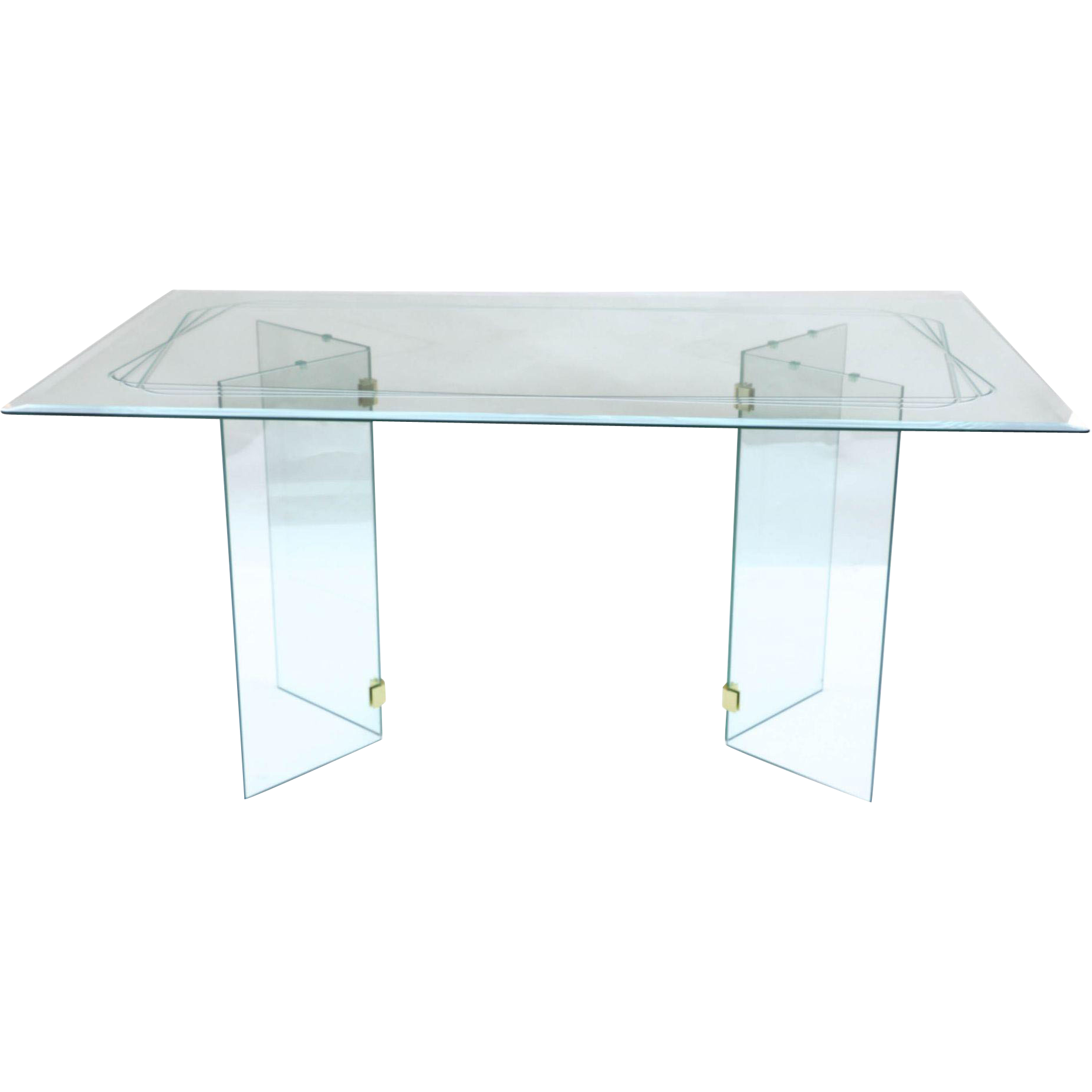 Mid Century Modern Pace Style Glass Dining Table From
