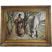 Original oil Painting A Woman and her Horse