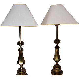 Stiffel brass vintage Midcentury modern Hollywood Regency brass table lamps