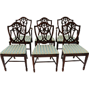 Mahogany George III Style Hepplewhite Shield Back Dining Chairs Six