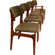 Teak Dining chairs by Erik Buch for Oddense Maskinsnedkeri A/S 1960s