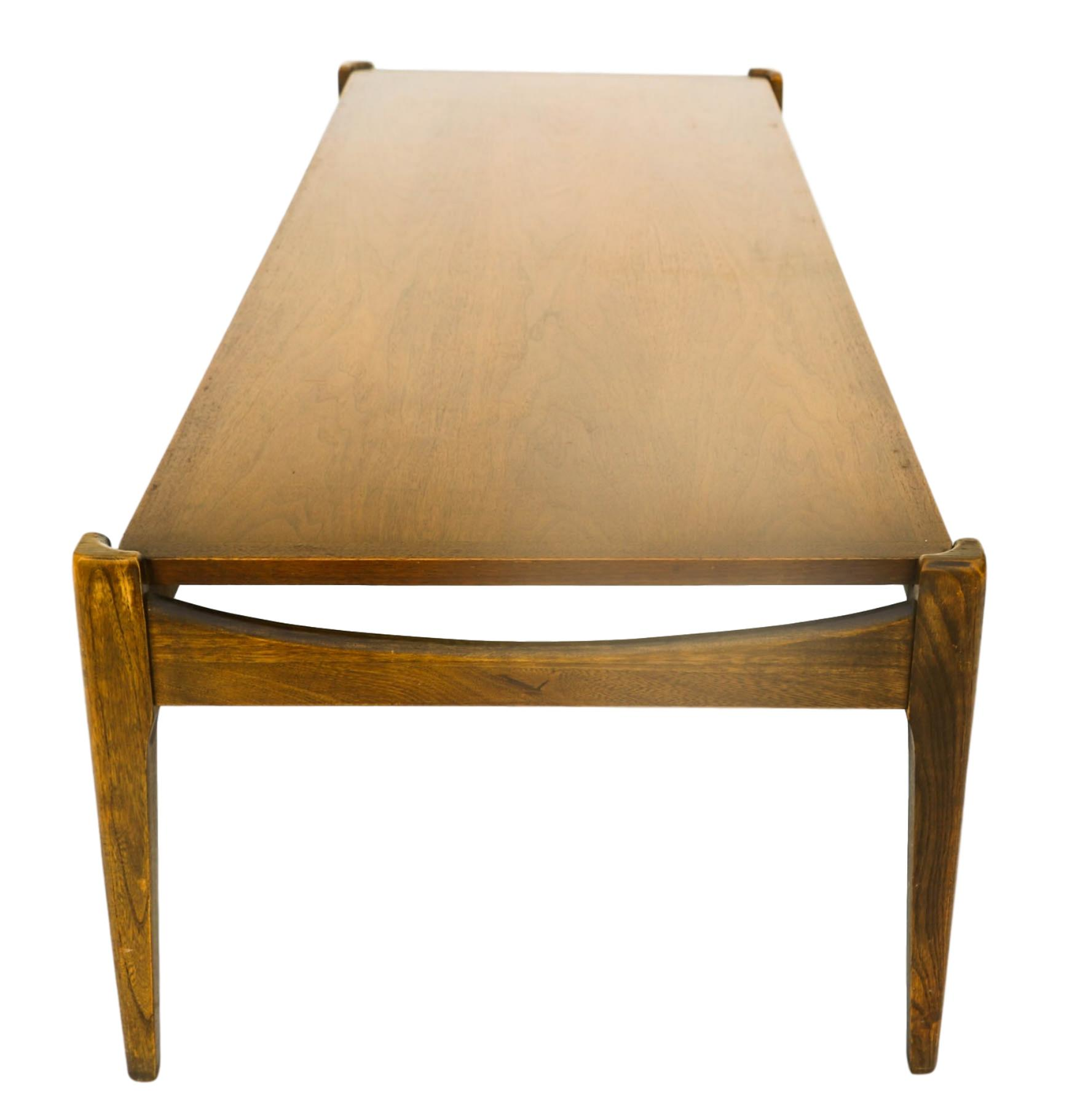 Mid Century Modern Bassett Walnut Coffee Table from
