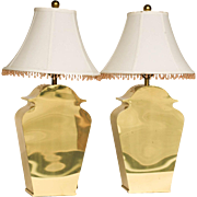 Stunning Pair vintage Chapman Mid Century Brass Table Lamps