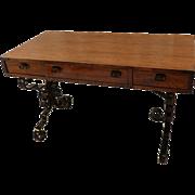 Vintage fruitwood Iron Desk