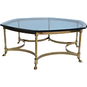 LaBarge Hexagonal Brass glass Coffee Table