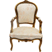 French Louis XV Style Carved Gilt wood Fauteuil Arm Chair 20th Century