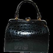 Vintage Manon Black Alligator Skin Kelly Handbag Purse Beautiful