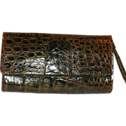 Vintage Greenish Brown Alligator Skin Clutch Purse Beautiful!l