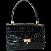 Vintage Koret Black Patent Leather Alligator Embossed Handbag