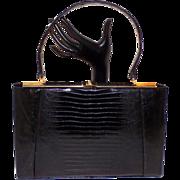 Vintage Black Lizard Skin Escort Kelly Handbag Purse Beautiful