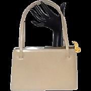 Vintage Judith Leiber Tan Leather Gold-Toned Fish Clasp Kelly Handbag Purse Beautiful