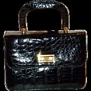 Vintage Sterling Black Alligator Skin Handbag Purse Beautiful