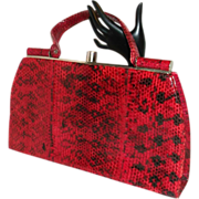 Vintage Red Snake Skin Kelly Handbag Purse Beautiful Rare