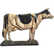 Charming Antique Cast Iron Door Stop in the Shape of a Holstein Dairy Cow, with Original Paint