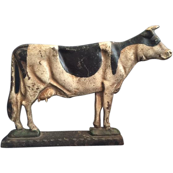 Charming Antique Cast Iron Door Stop in the Shape of a Holstein Dairy Cow,  with Original Paint - Charming Antique Cast Iron Door Stop In The Shape Of A Holstein
