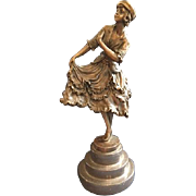 "Charming Vintage Bronze Statue of a Young Lady with Ruffled Skirt in a Curtsy Signed ""COLIN"""