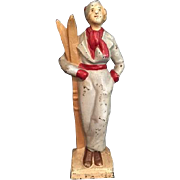 Charming Vintage Doorstop of a Lady Skier in Vintage Ski Suit
