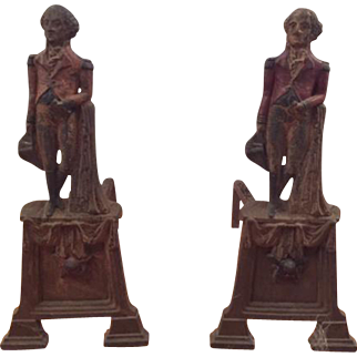 Antique Pair of Cast Iron Fireplace Andirons Depicting George Washington