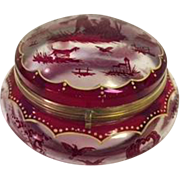 """Charming Vintage 5.5"""" Vanity Powder Jar decorated with Country Scenes in a Hunting Theme"""