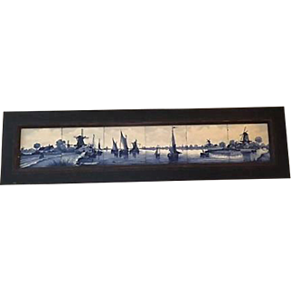 Lovely Framed Delft Tile Tableau depicting Charming Country Farm House and Nautical Scene!
