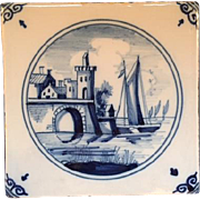 Charming Delft Hand Painted Tile in Blue and White (light Grey Background)