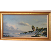 "Magnificent Oil on Masonite Painting of Ocean Scene by Florida Highwaymen Artist ""Harold Newton"""