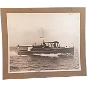 Charming Authentic Nautical Photo of Vintage Boat Underway with Passengers