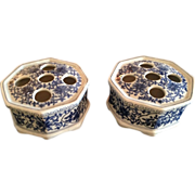 Pair of Blue and White Chinese Frog Tulip / Flower Vases