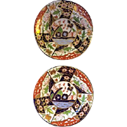 """Antique Pair of English Derby Imari Porcelain Plates in pattern known as """"Rock and Tree"""""""
