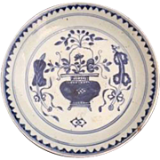 Antique Chinese Export Blue and White Bowl / Plate, Late Ming Dynasty, Wanli Period c 1573 - 1619